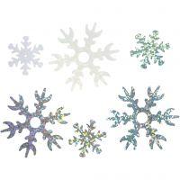 Pailletter, diam. 25+45 mm, lyseblå, sølv, hvid, 30 g/ 1 pk.