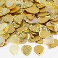 Pailletter, dråbe, str. 14x19 mm, guld, 50 g/ 1 pk.