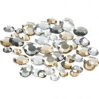 Rhinsten, runde, str. 6+9+12 mm, gylden olie, 360 stk./ 1 pk.