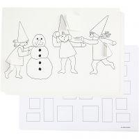 Julekalender med nisser i sneboldkamp , A3, 30 stk./ 1 pk.