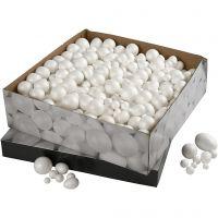 Kugler og æg, str. 1,5-6,1 cm, hvid, 550 stk./ 1 pk.