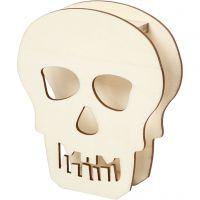 Halloweenfigur, Dødningehoved, H: 13,5 cm, dybde 3 cm, B: 11,5 cm, 1 stk.