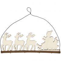 Juleophæng, kane med rensdyr, H: 8 cm, dybde 0,5 cm, B: 22 cm, 1 stk.
