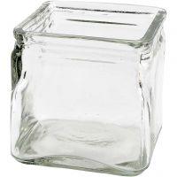 Firkantet lysglas, H: 10 cm, str. 10x10 cm, 12 stk./ 1 ks.