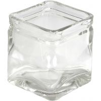 Firkantet lysglas, H: 8 cm, str. 7,5x7,5 cm, 12 stk./ 1 ks.