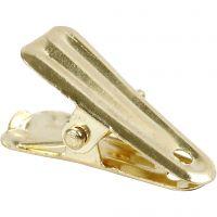 Dekorationsklemmer, L: 27 mm, B: 14 mm, guld, 10 stk./ 1 pk.