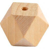 Facetslebet træperle, B: 20 mm, hulstr. 3 mm, 6 stk./ 1 pk.
