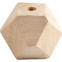 Facetslebet træperle, B: 43 mm, hulstr. 8 mm, 3 stk./ 1 pk.