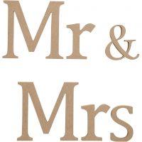 Bogstaver, Mr & Mrs, H: 13 cm, dybde 1,5 cm, 1 sæt