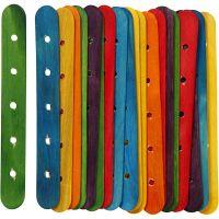 Konstruktionspinde, L: 15 cm, B: 1,8 cm, hulstr. 4 mm, ass. farver, 20 ass./ 1 pk.