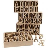 Bogstaver og tal af træ, H: 8 cm, tykkelse 1,5 cm, 246 stk./ 1 pk.