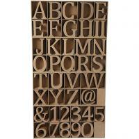 Bogstaver, tal og symboler af træ, H: 8 cm, tykkelse 1,5 cm, 240 stk./ 1 pk.
