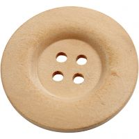 Træknapper, diam. 40 mm, hulstr. 3 mm, 4 huller, 6 stk./ 1 pk.