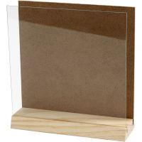 3D plade med glas, str. 15x15 cm, 1 sæt
