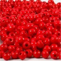 Træperler, diam. 5 mm, hulstr. 1,5 mm, rød, 6 g/ 1 pk., 150 stk.