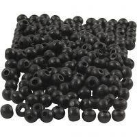Træperler, diam. 5 mm, hulstr. 1,5 mm, sort, 6 g/ 1 pk., 150 stk.