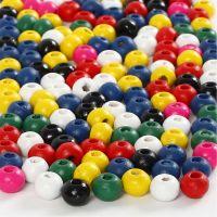 Træperlemix, diam. 4 mm, hulstr. 1,5 mm, ass. farver, 6 g/ 1 pk.