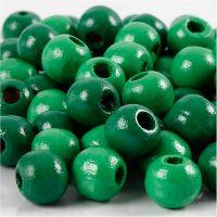 Træperler, diam. 12 mm, hulstr. 3 mm, grøn, 22 g/ 1 pk.