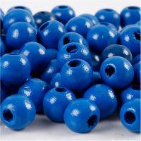 Træperler, diam. 12 mm, hulstr. 3 mm, blå, 22 g/ 1 pk.