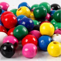 Træperlemix, diam. 12 mm, hulstr. 3 mm, ass. farver, 22 g/ 1 pk.