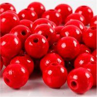 Træperler, diam. 10 mm, hulstr. 3 mm, rød, 20 g/ 1 pk.
