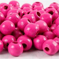 Træperler, diam. 10 mm, hulstr. 3 mm, pink, 20 g/ 1 pk., 70 stk.
