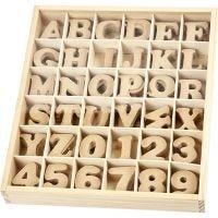 Bogstaver og tal, H: 4 cm, tykkelse 2,5 mm, 288 stk./ 1 pk.