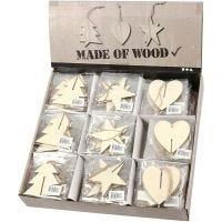 3D ophæng, hjerte, stjerne og juletræ, str. 7,5x7,5x0,2 cm, 3x30 stk./ 1 pk.