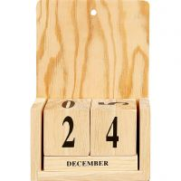 Kalender med datoterninger, str. 13x5,5x19,2 cm, 1 sæt