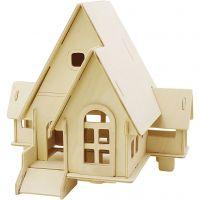 3D konstruktionsfigur, Hus med kørerampe, str. 22,5x17,5x20,5 , 1 stk.