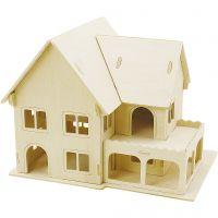 3D konstruktionsfigur, Hus med veranda, str. 22,5x16x17,5 , 1 stk.