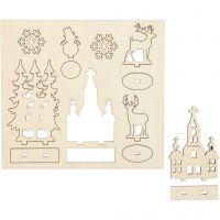 Saml-selv træfigur, kirke, juletræer, krondyr, L: 15,5 cm, B: 17 cm, 1 pk.
