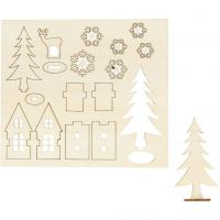 Saml-selv træfigur, hus,træ, hjort, L: 15,5 cm, B: 17 cm, 1 pk.