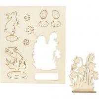 Saml-selv træfigur, harer og blomster, L: 20 cm, B: 17 cm, 1 pk.