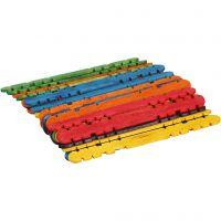 Konstruktionspinde, L: 11,4 cm, B: 10 mm, ass. farver, 30 stk./ 1 pk.