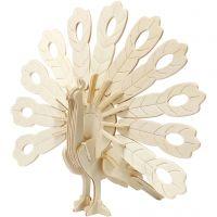 3D konstruktionsfigur, påfugl, str. 10x20,5x17,5 cm, 1 stk.