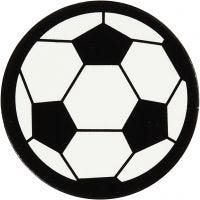 Kartonmærkat, fodbold, diam. 25 mm, hvid/sort, 20 stk./ 1 pk.