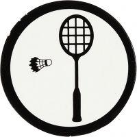 Kartonmærkat, badmintonketcher + fjerbold, diam. 25 mm, hvid/sort, 20 stk./ 1 pk.