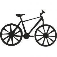 Kartonmærkat, cykel, str. 77x48 mm, sort, 10 stk./ 1 pk.