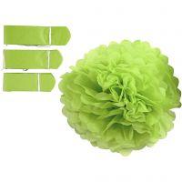 Papirpomponer, diam. 20+24+30 cm, 16 g, limegrøn, 3 stk./ 1 pk.
