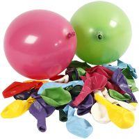Balloner, runde, diam. 23 cm, ass. farver, 100 stk./ 1 pk.