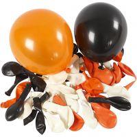 Balloner, runde, diam. 23-26 cm, sort, orange, hvid, 100 stk./ 1 pk.