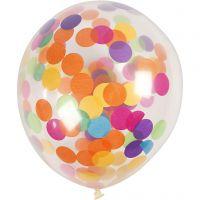 Balloner med konfetti, runde, diam. 23 cm, transparent, 4 stk./ 1 pk.