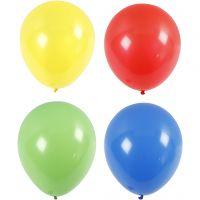 Balloner, kæmpe, diam. 41 cm, blå, grøn, rød, gul, 4 stk./ 1 pk.