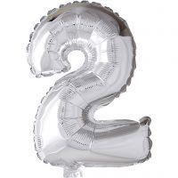 Folieballon, 2, H: 41 cm, sølv, 1 stk.