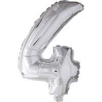Folieballon, 4, H: 41 cm, sølv, 1 stk.