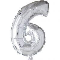 Folieballon, 6, H: 41 cm, sølv, 1 stk.