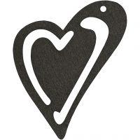 Asymmetrisk hjerte, str. 55x45 mm, tykkelse 2 mm, sort, 10 stk./ 1 pk.
