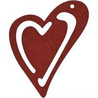 Asymmetrisk hjerte, str. 55x45 mm, tykkelse 2 mm, vinrød, 10 stk./ 1 pk.