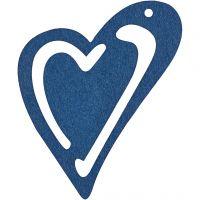 Asymmetrisk hjerte, str. 55x45 mm, tykkelse 2 mm, mørk blå, 10 stk./ 1 pk.